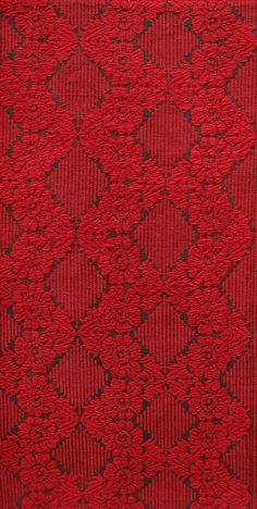 Vintage Kilim Bedspread with Red Roses & Crochet Lace
