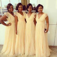 yellow bridesmaid dress,long bridesmaid dress,chiffon bridesmaid dress,v-neck bridesmaid dress,BD1620
