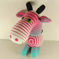 Pink Striped Sock Giraffe Stuffed Animal Doll Baby Toys #handmade #toys #toy #stuffed #stuffedtoys