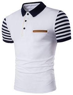 Men's Active Plus Size Cotton Slim Polo - Striped Stripe Shirt Collar / Short Sleeve