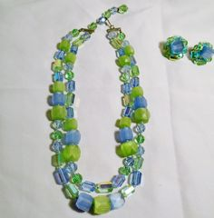Vintage Knotted Vogue AB Raw Crystal & Bead Necklace Earrings Clip on Blue Green #Vogue