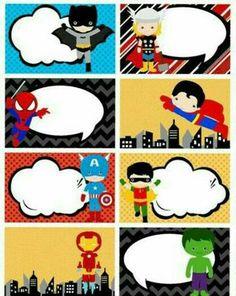 etiquetas para cuadernos de secundaria marvel Superhero Classroom Theme, Superhero Theme Party, Superman Birthday Party, Batman Party, Heros Comics, Heroes Book, School Labels, Balloon Decorations Party, Supergirl