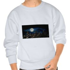 Full Moon Over City Painting Pull Over Sweatshirts