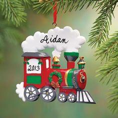 Personalized Train Ornament - Zoom