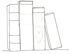step by step lessons and tutorial on how to draw books on shelf with pictures explained