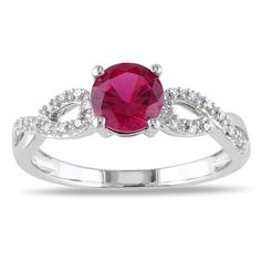 Miadora 10k White Gold Created Ruby and 1/10ct TDW Diamond Ring (G-H, I1-I2) - Overstock™ Shopping - Top Rated Miadora Gemstone Rings