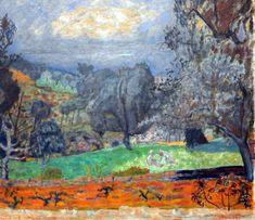 Pierre Bonnard, Landscape at Sunset (Le Cannet), 1927 on ArtStack Pierre Bonnard, Edouard Vuillard, Paul Gauguin, Landscape Art, Landscape Paintings, Art Pierre, Great Paintings, Henri Matisse, French Artists