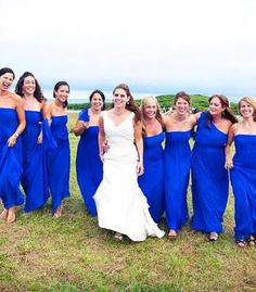 Bridesmaid Dresses in Horizon Blue look sensational - especially with the bright white wedding dress.