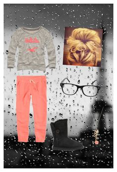 """""""lazy day"""" by brendaaaa30 ❤ liked on Polyvore featuring Hollister Co., American Eagle Outfitters, Wet Seal, UGG Australia and hollister peach pink coral grey sweatpants lazy fashion cute nerd"""