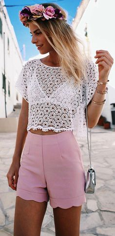 cute summer outfit lacer top + blush pink shorts