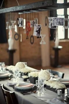 vintage ladder to hang photos at wedding.. plus other ideas...