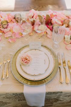 Pink and Gold Place Setting | photography by http://mattedgeweddings.com