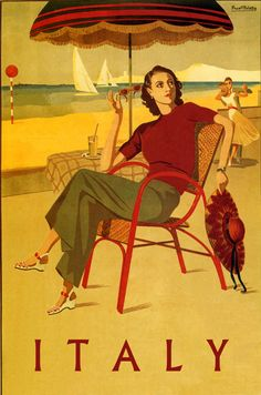 """Italy"" vintage travel poster, 1930's. Woman sitting on a chair on the beach."