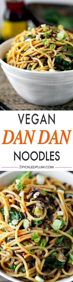 Vegan Dan Dan Noodles - Chopped mushrooms replace the ground meat and bring earthiness to this spicy, nutty and tangy noodle dish. You won't be able to stop eating them! Vegan, vegetarian, recipe, Chinese, noodles | http://pickledplum.com
