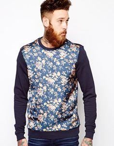 Image 1 ofASOS Sweatshirt With Floral Sateen Panel