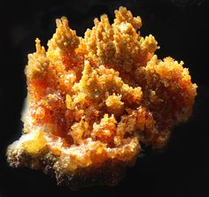 Orange Zincite crystal cluster. with towering columns and stacks of sparkly Zincite : www.pixiecrystals.com/shop.php -x-
