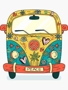 """hippie painting ideas 449374869068874729 - """"The Hippie Van"""" Sticker by praaf Hippie Drawing, Hippie Painting, Trippy Painting, Peace Painting, Paz Hippie, Hippie Peace, Hippie Art, Hippie Vibes, Happy Hippie"""