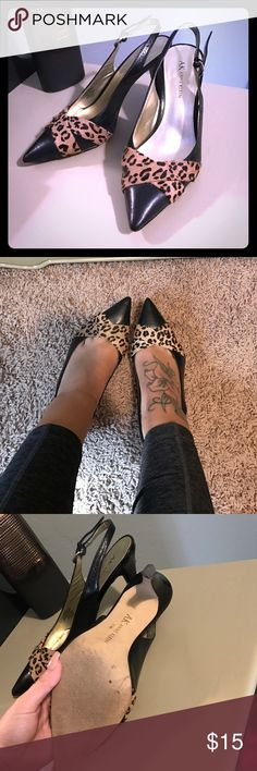 """Anne Klein Heels 7.5 Super cute sling back heels from Anne Klein. Size 7 1/2 with a 3"""" heel. Features a soft faux fur leopard cheetah detailing on top. Faux suede material. Buckle at the back to adjust. Good condition.   ❌No free ship. No holds❌  Animals print, Sam Edelman, Gucci, Prada, tori burch, guess Anne Klein Shoes Heels"""