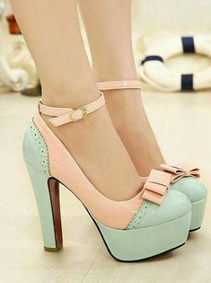 Hfs these mint and blush pink platform pumps are everything! I love the bow and the ankle strap