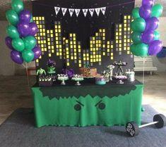 hulk decoração festa de aniversario Hulk Birthday Cakes, Hulk Birthday Parties, Superhero Birthday Party, Birthday Party Decorations, Hulk Party, Avengers Birthday, First Birthdays, Eye Makeup, Ruan