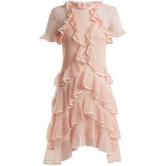 Alexander McQueen Short-sleeve lace-knit ruffle mini dress (3 905 AUD) ❤ liked on Polyvore featuring dresses, ruffles, layer, tier, light pink, short pink dress, lace mini dress, pink mini dress, knit dress and light pink lace dress