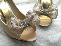 set of 2Gold bows shoe clips /chirstmas bows/bridal by BEAUTYLIVE, $19.99