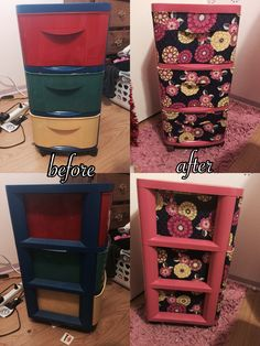 For college I wanted to bring a plastic drawer with me and I had this laying around and decided to remodel it. All you need is some spray paint, fabric, and mod podge. Overall it turned out great!