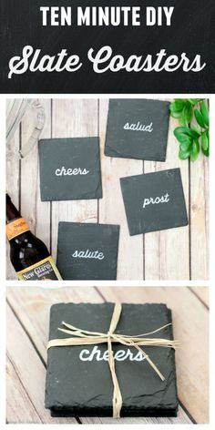 Easy DIY Coasters to Make in 10 Minutes In just ten minutes you can make these DIY coasters! Learn how to customize slate coasters with ANY saying or image you want! These diy coasters are a perfect handmade gift for anyone on your list. Slate Coasters, Diy Coasters, Making Coasters, Homemade Coasters, Custom Coasters, Slate Art, Painted Slate, How To Make Coasters, Tile Crafts