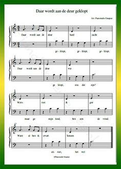 Daar wordt aan de deur geklopt - Gratis bladmuziek van kinderliedjes in eenvoudige zetting voor piano. Piano leren spelen met bekende liedjes.