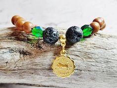 Check out Essential Oil Diffuser Chakra Bracelet ~ Taurus Zodiac May Birthstone Charm Bracelet ~ Personalized Emerald Crystal & Lava Stone Bracelet on blueworldtreasures