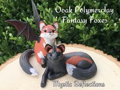 Unicorn Cross Fox and Winged Bat Fox Animal Pal Handmade Ooak Polymerclay Sculptures by Mystic Reflections Pet Fox, Polymer Clay Creations, Mystic, Garden Sculpture, Sculptures, Wings, Fantasy, Christmas Ornaments, Holiday Decor