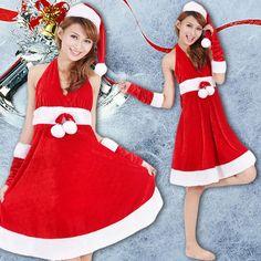 Goedkope 2015 nieuwjaar vrolijk kerst rode kostuums voor vrouwen sexy volwassen meisjes kerst halter jurk vrouwelijke kerst kostuums, koop Kwaliteit jurken rechtstreeks van Leveranciers van China: