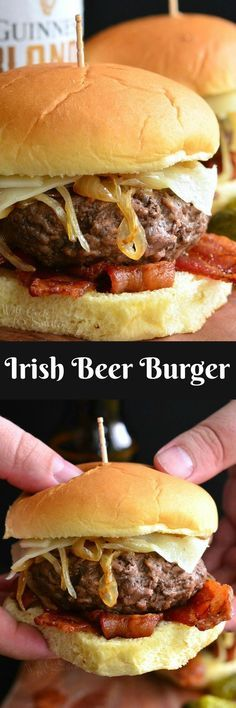 Irish Beer Burger. Delicious, juicy beer burger made with Guinness caramelized onions, Swiss cheese, and crispy bacon all on a potato roll.