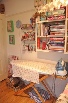 organized  Caroline, I'm turning your bedroom into my sewing room. Don't worry, I'll leave the bed up for you!
