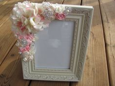 Custom Cream Wedding Picture Frame with Ribbon Roses and Jewels Flower Picture Frames, Wedding Picture Frames, Wedding Pictures, Cute Wedding Ideas, Wedding Tips, Silk Flowers, Paper Flowers, Cream Wedding, Love Craft