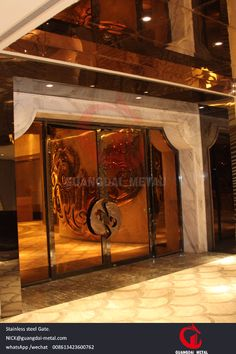 hotel gate in stainless steel golden cover,excellent smooth touch