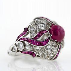 Art Deco Cabochon Ruby Ring