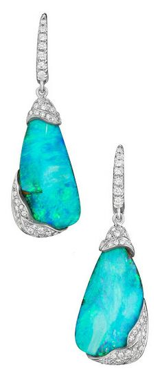 Mimi So ZoZo collection boulder opal and diamond earrings. Via Diamonds in the L… Mimi So ZoZo collection boulder opal Opal Jewelry, Jewellery, Silver Jewelry, Fine Jewelry, My Wallet, Valentino Rockstud, Old Hollywood Glamour, Kinds Of Shoes, Fancy Pants
