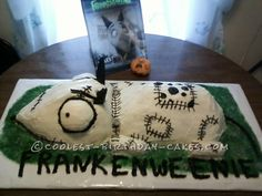 Awesome Frankenweeine Cake... This website is the Pinterest of birthday cake ideas