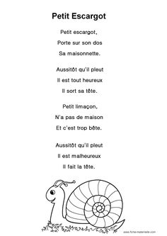 """Paroles de la chanson """"Petit escargot"""" Teaching French Immersion, Play School Activities, French Poems, Google Custom, French Language Learning, Speech Language Pathology, French Lessons, Kids Songs, Learn French"""