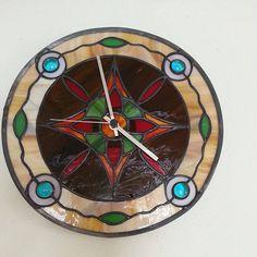 Tiffany stained glass clock, Tiffany wall clock, Stained glass clock, wall mounted glass clock with silver hands, quartz hourwork