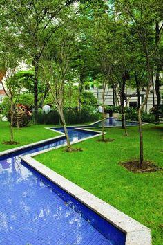 Angular waterways, Brascan Century Plaza, São Paulo, designed by Benedito Abbud