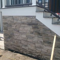 Veneer Wall Install by a contractor. Stone is Be On Stone Canyon in Tero Brown. Product purchased at Adams Landscape Supply