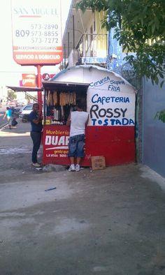 La Vega, Dominican Republic! Food place on the street.