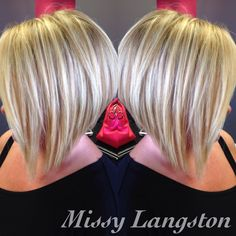 Short blonde inverted bob using Olaplex by Missy Langston. Blondie's Hair Salon by amber Blonde Inverted Bob, Short Blonde Bobs, Short Inverted Bob, Bob Short, Angled Bobs, Stacked Bobs, Layered Bobs, Super Short Hair, Short Hair Cuts