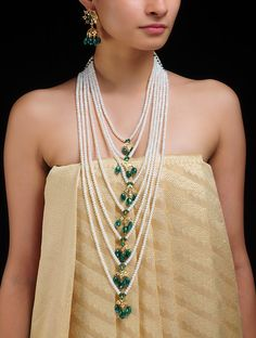 Buy Ivory Green Gold Saat Lada Pearl Necklace with Earrings Pearls 22 Karat Plated Metal Alloy Semi Precious Stones Jewelry Fashion Online at Jaypore.com Pearl Necklace, Beaded Necklace, Earrings Online, Mamma, Jewellery Designs, Stone Jewelry, Green And Gold, Indian Jewelry, Beautiful Necklaces