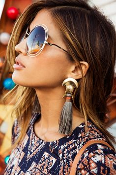 Round glasses and earrings in boho bohemian gypsy style. For more followwww.pinterest.com/ninayayand stay positively #inspired