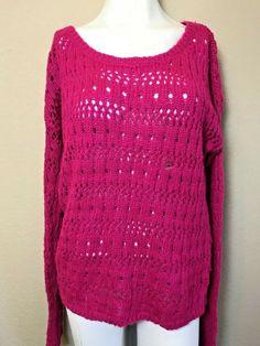 Aeropostale Ladies Medium Pink Sweater Fuchsia Crochet Knit Tunic NWT  #Aeropostale #Tunic Loose Knit Sweaters, Tunic Sweater, Pink Sweater, Crochet Buttons, Aeropostale, Pink Fashion, Womens Fashion, Diy Clothing, Sweater Weather