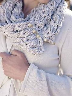 Crochet scarf. Love the pearl detail.