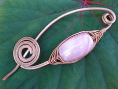 Hammered Copper Wire Scarf Shawl Pin Wire Wrapped Pink Fibula Pin Unique Modern Copper Wire Scarf or Shawl Pin